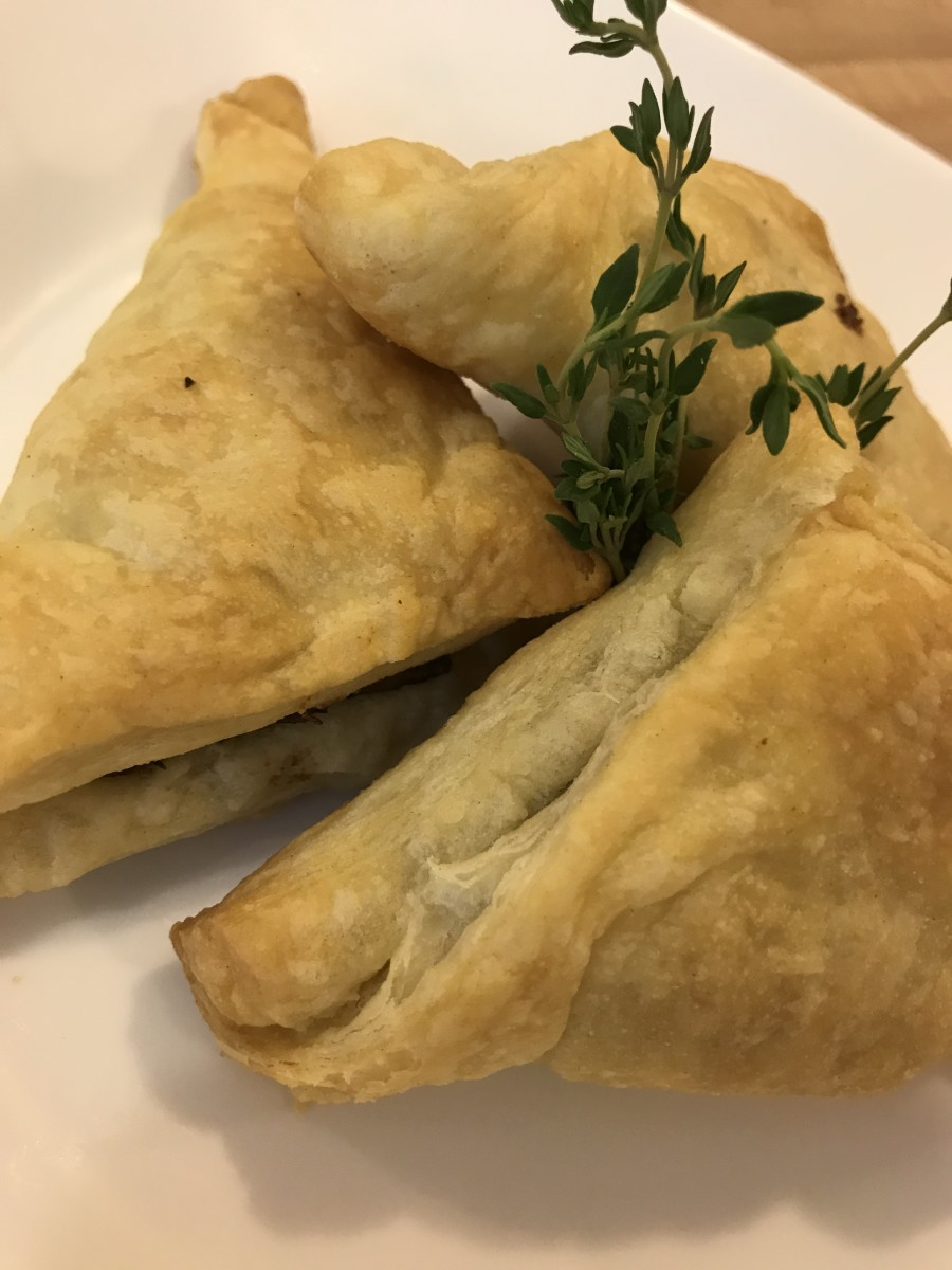 The finished wild mushroom puff pastries, golden and fragrant.