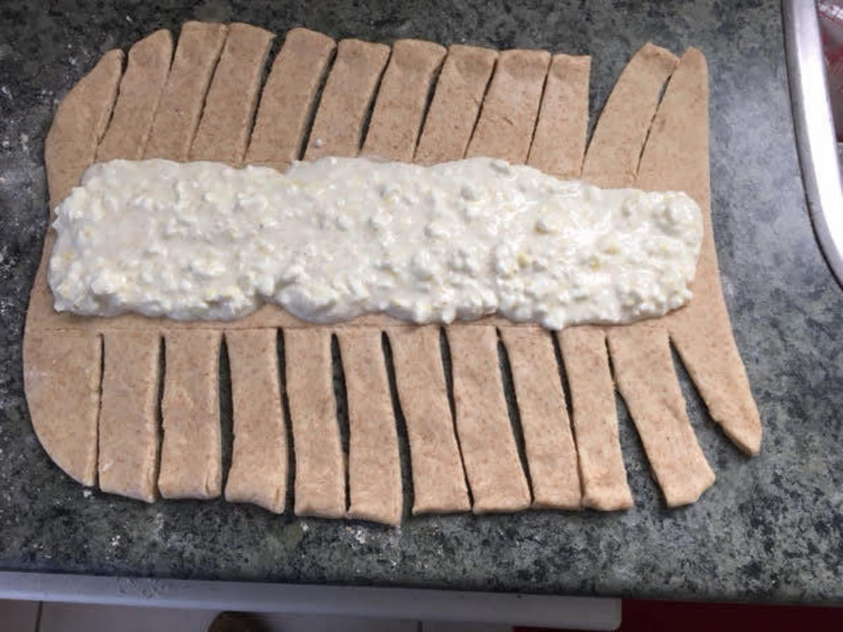 Strips cut and filling applied