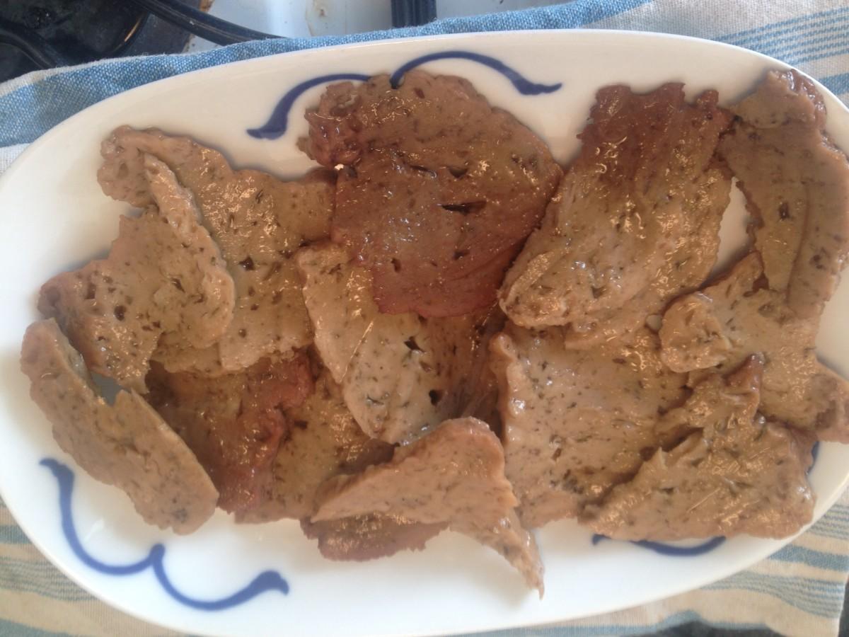 Sliced seitan is a great vegan Thanksgiving or Christmas alternative to turkey.