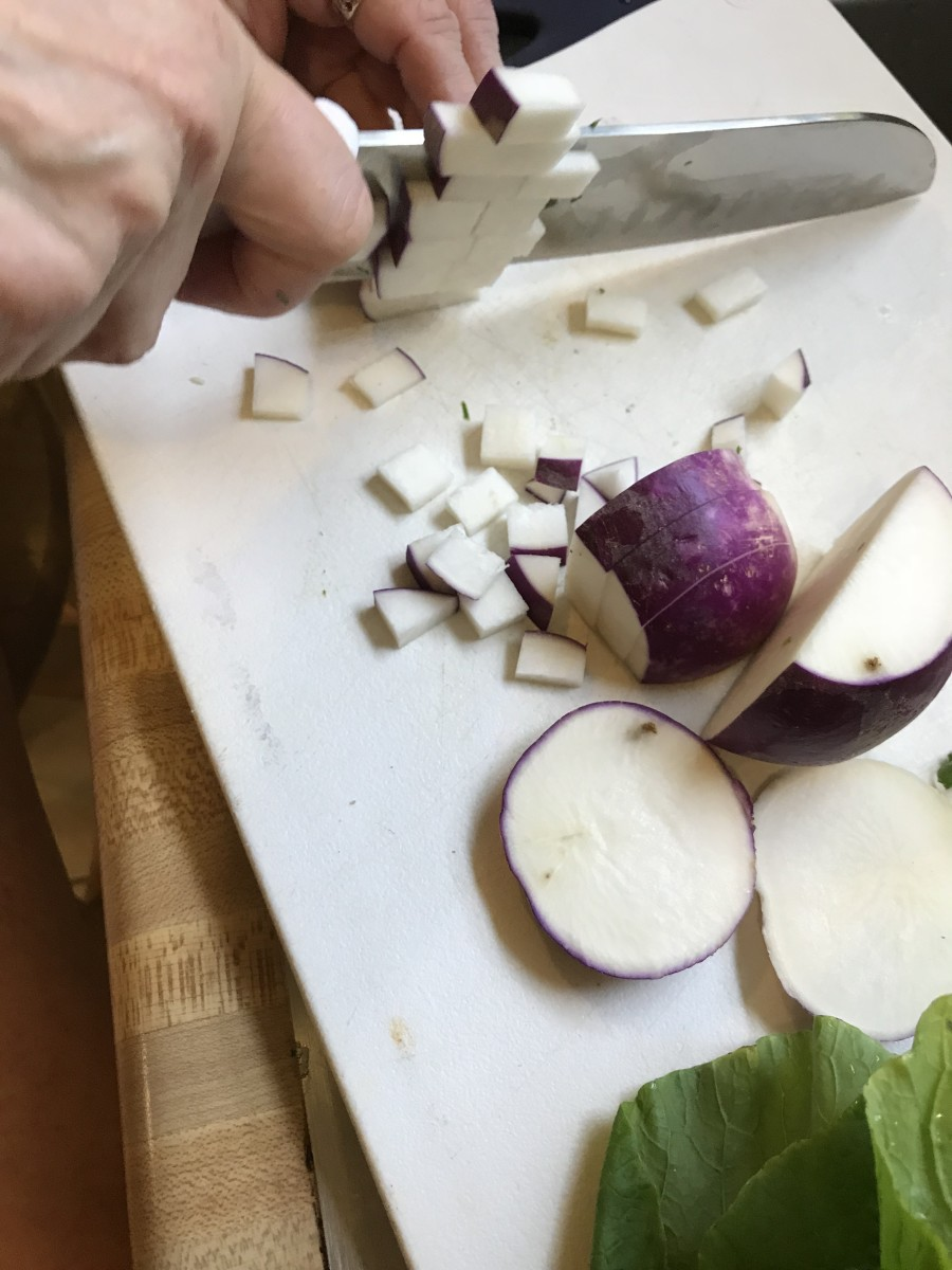 Cut the turnip into very small dice. Turnips are nice and sweet, and using some fresh turnip as well as the root is beautiful. The sweet turnip is a nice balance against the slight bitterness of the greens.