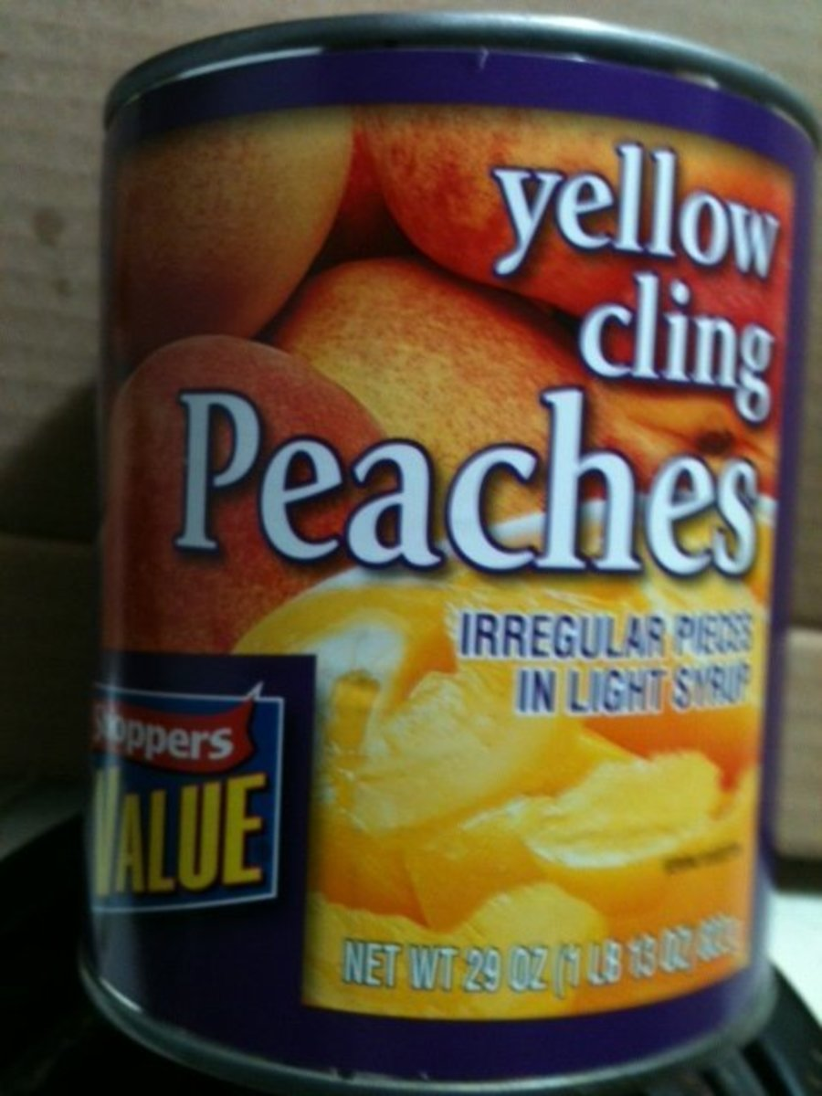Any brand Sliced Peaches in Heavy Syrup