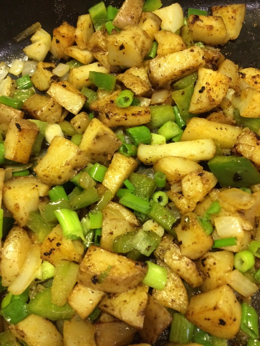 Here I added green peppers, onion, and garnished with green onions.