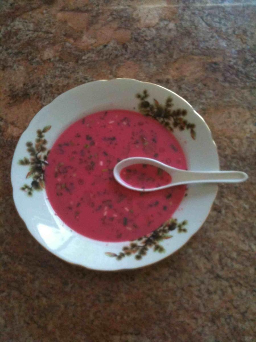 cold borscht (beet soup)