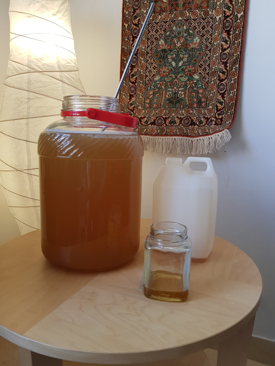 Add honey to water, mix well. Leave a decent amount of headroom; otherwise, your mixture will overflow.