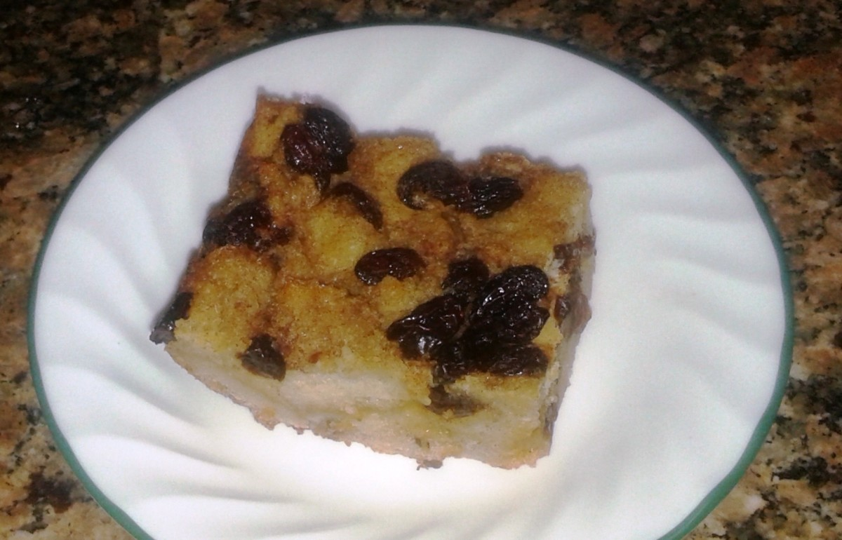 A slice of bread pudding ready to be garnished or eaten as is.