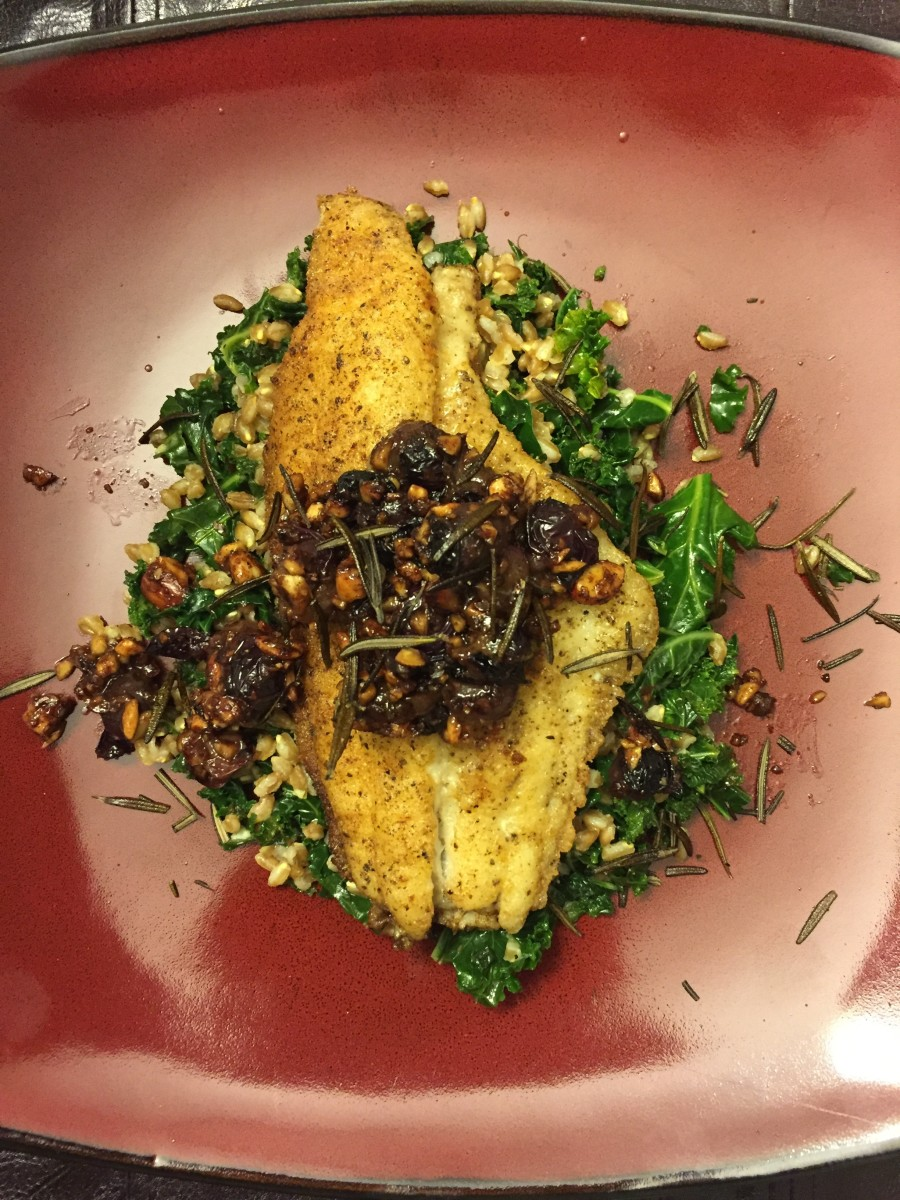 Crispy Catfish with Rosemary, Kale, Thomcord Grapes and Farro
