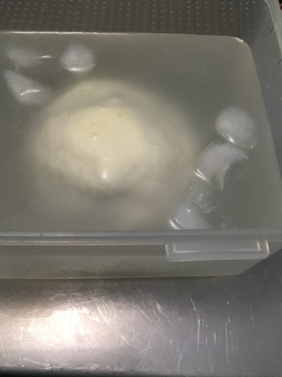 Chill fresh mozzarella in cold water (15 minutes) then ice water (1.5 hours). Drain off water and store the cheese in the refrigerator in a tupperware or plastic bag.