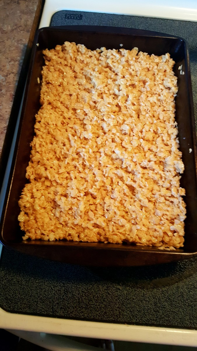 Spread evenly into a 13x9 baking pan. Allow to completely cool.