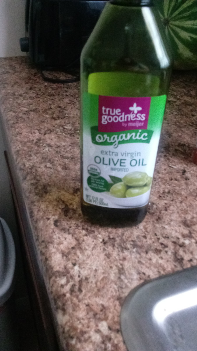 You can use organic olive oil (shown above)