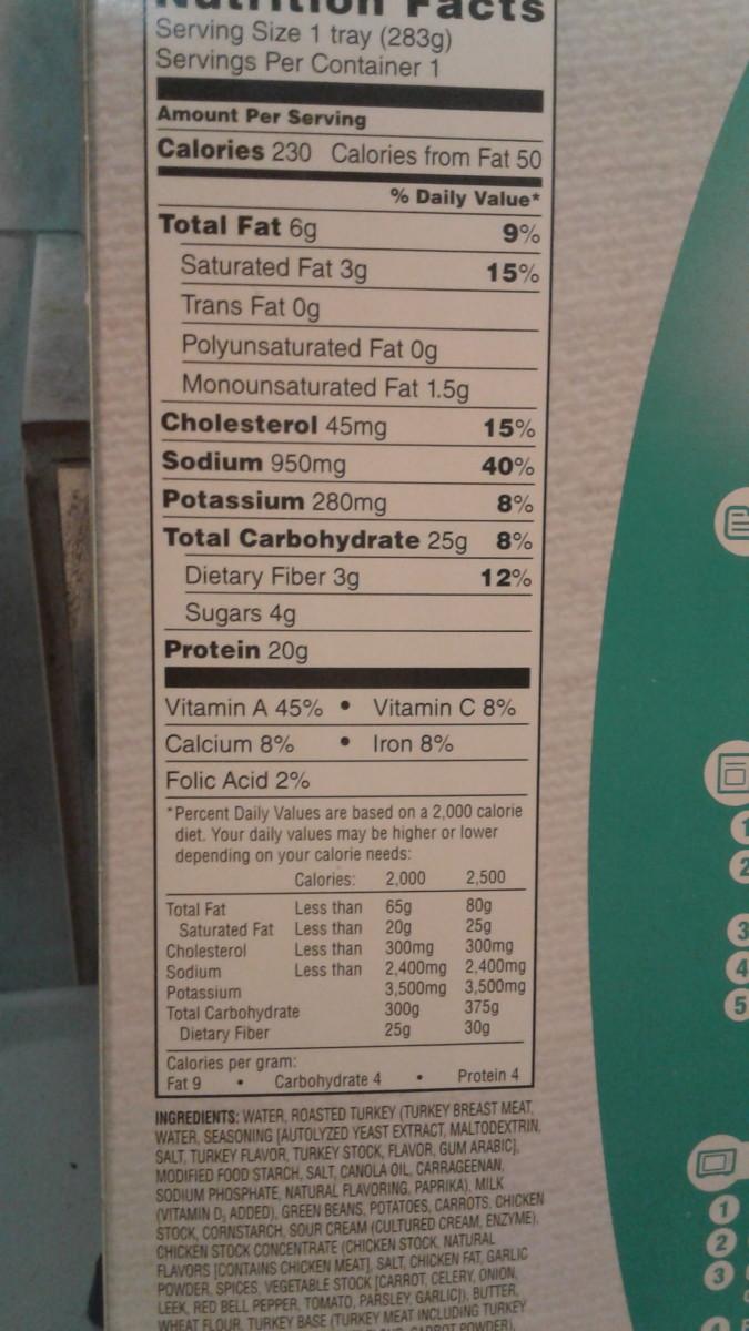 nutritional info.