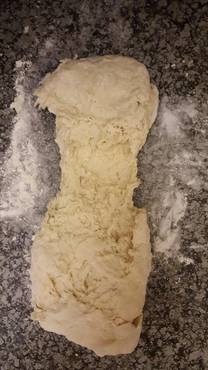Stretch the dough into a rectangle.