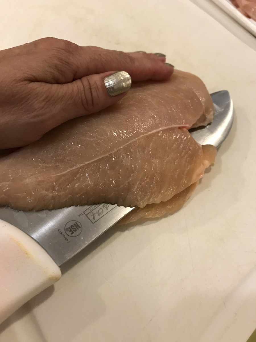 Cutting a chicken breast in half horizontally can drastically reduce cooking time. If your chicken breasts are large, consider this quick step to cut cooking time. It also helps to reduce portion sizes, and stretch proteins!