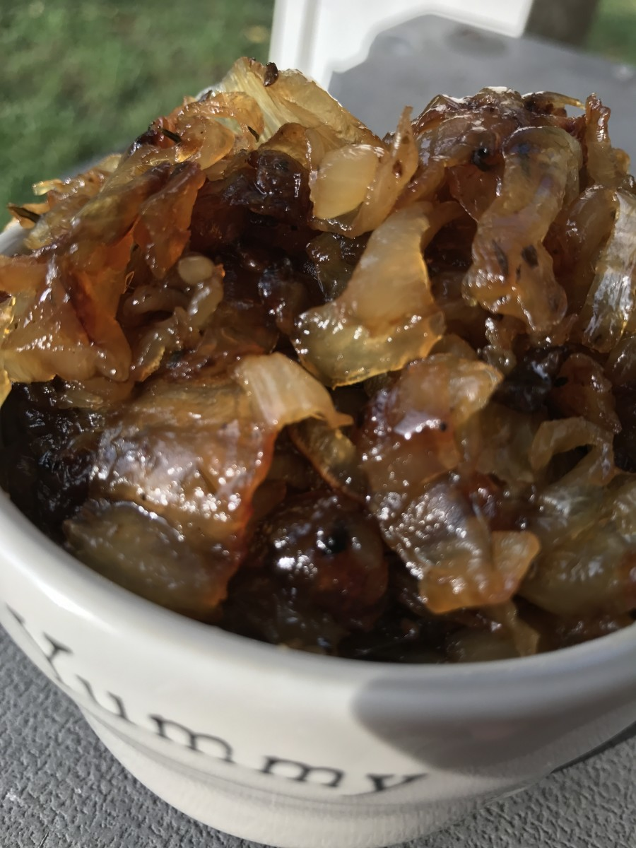 My oldest son calls it onion candy - correctly caramelized onions are naturally sweet, incredibly savory, and enhance  anything you use them with. Or eat them with a fork - as my boys did with this batch.