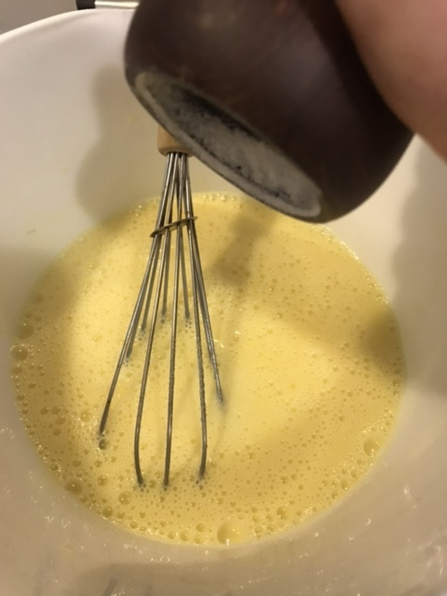 Add about 1/2 teaspoon of salt to the egg and milk mixture. Salt just intensifies the flavor of the finished dish.