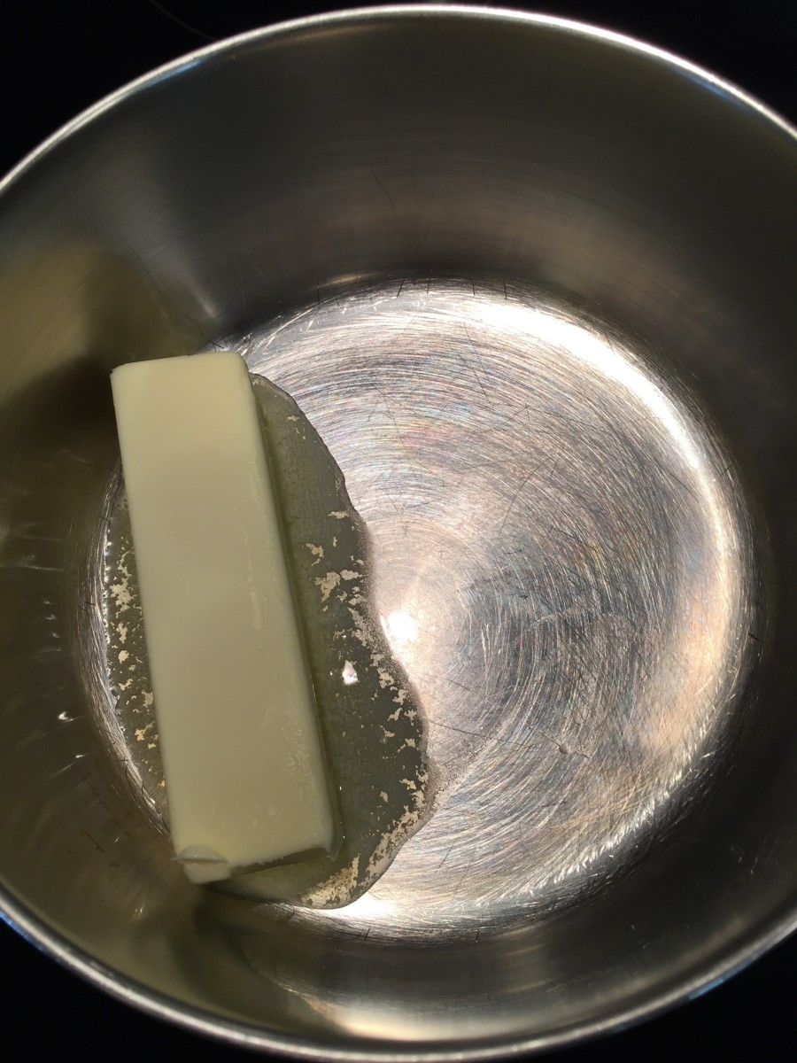 Start by melting a stick of butter.