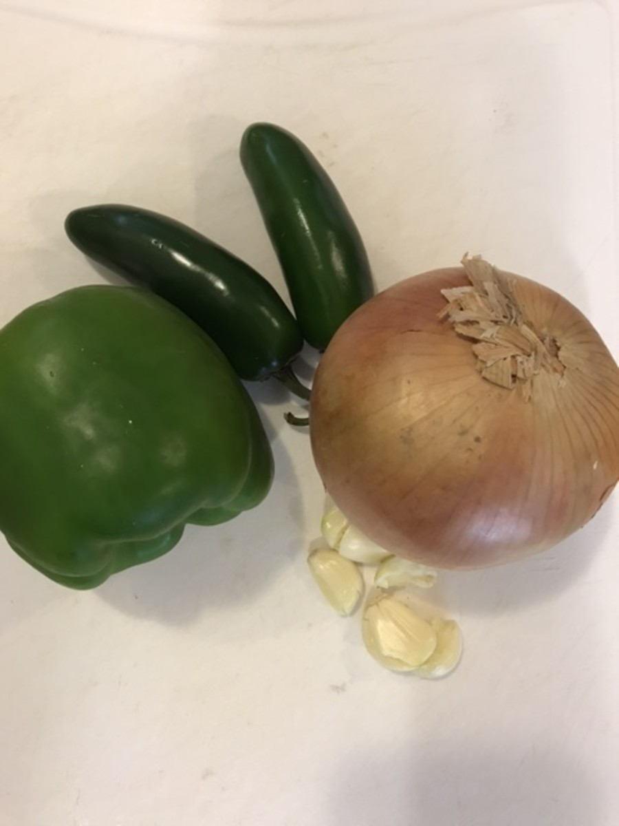 One onion, one bell pepper, a couple of jalapenos and some garlic form the flavor base for the vegetables.