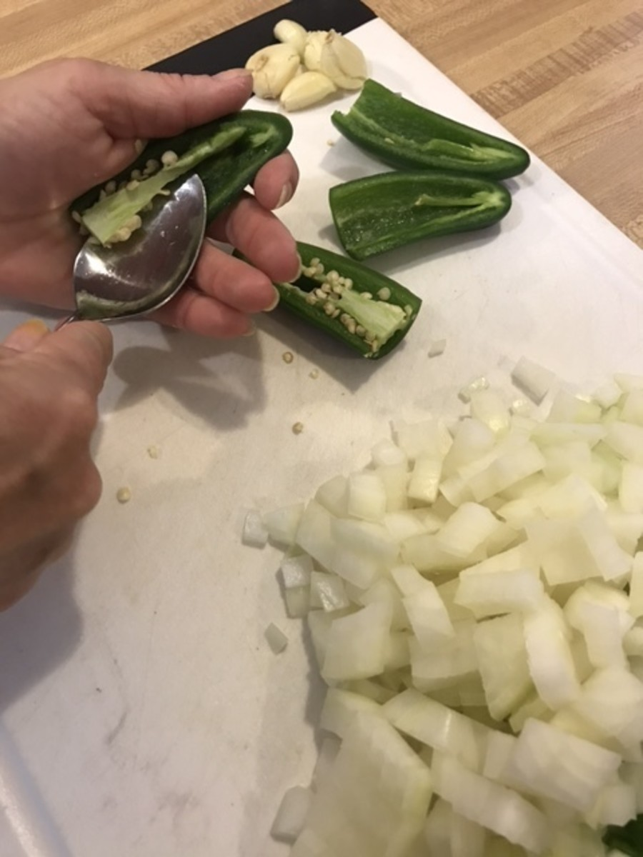 You can control the heat of jalapeno peppers by removing the seeds and white membranes, where the capsaicin is stored. Be careful not to touch your eyes!