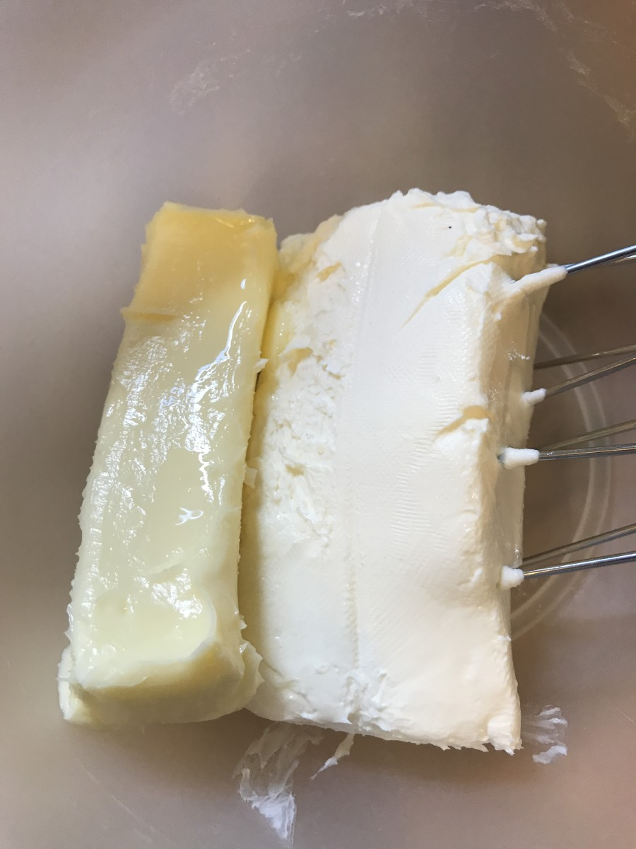 Start with a stick of butter (1/2 cup) and 1 package (8 ounces) of cream cheese, softened to room temperature.