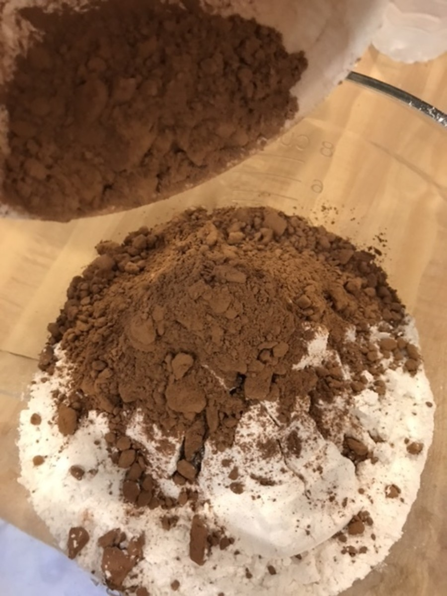 Add the cocoa powder to the other dry ingredients, then stir in 1 teaspoon salt and 1 tablespoon of baking soda. You can use plain cocoa powder, don't worry about getting the more expensive Dutch processed variety.