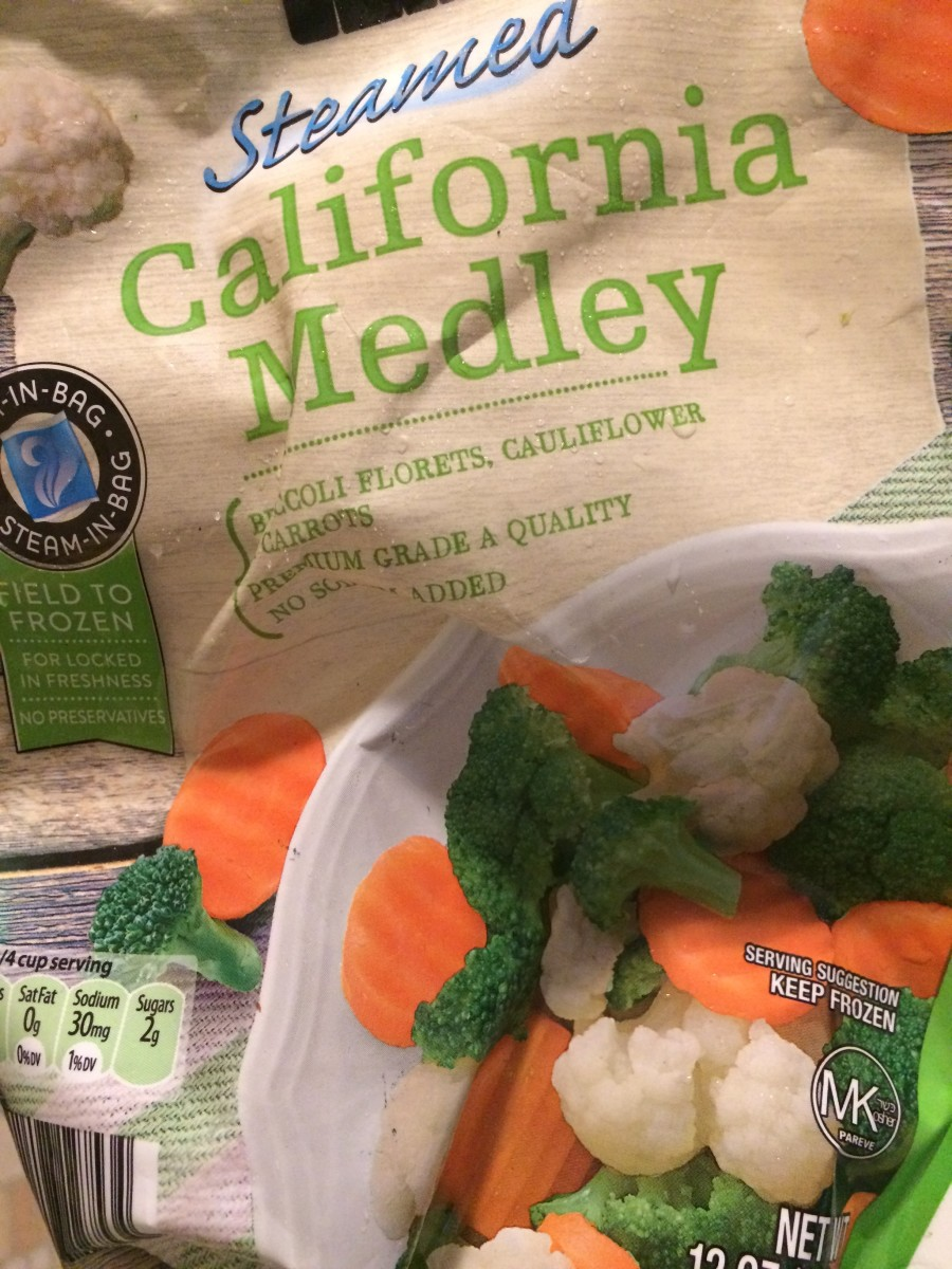 Frozen bag of veggies, medley blend