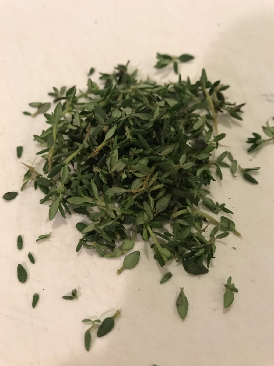 Probably my favorite herb, fresh thyme is a gorgeously subtle, slightly floral note in the finished butter. Use the tender leaves whole, or mince the tender stems very finely. Strip the tougher stems of their leaves and toss those or save for stock.