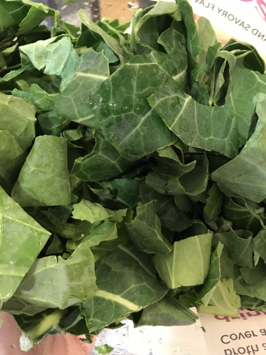 Wash and trim two pounds of collard greens, about two large bunches. Remove the stems if they are very large, they can be really tough and fibrous. The smaller stems will break down and soften, so leave those.