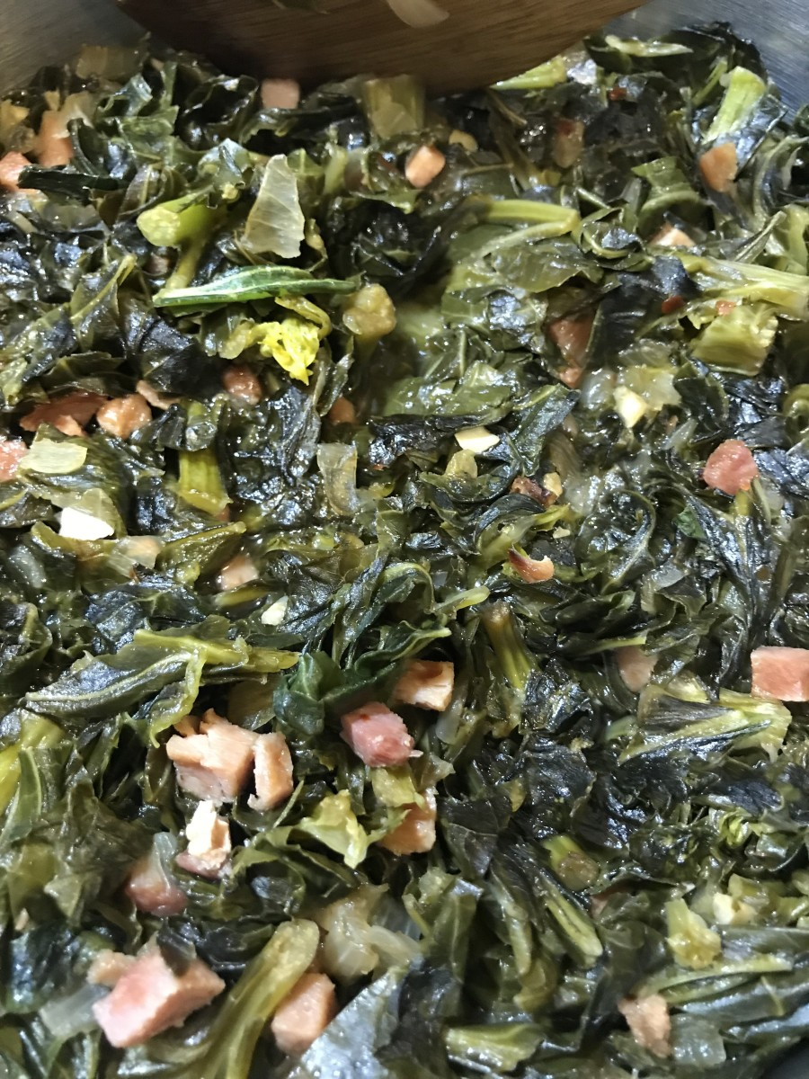 After 45 minutes the collards are ready, the flavors mingle and marry and the results are just amazing.