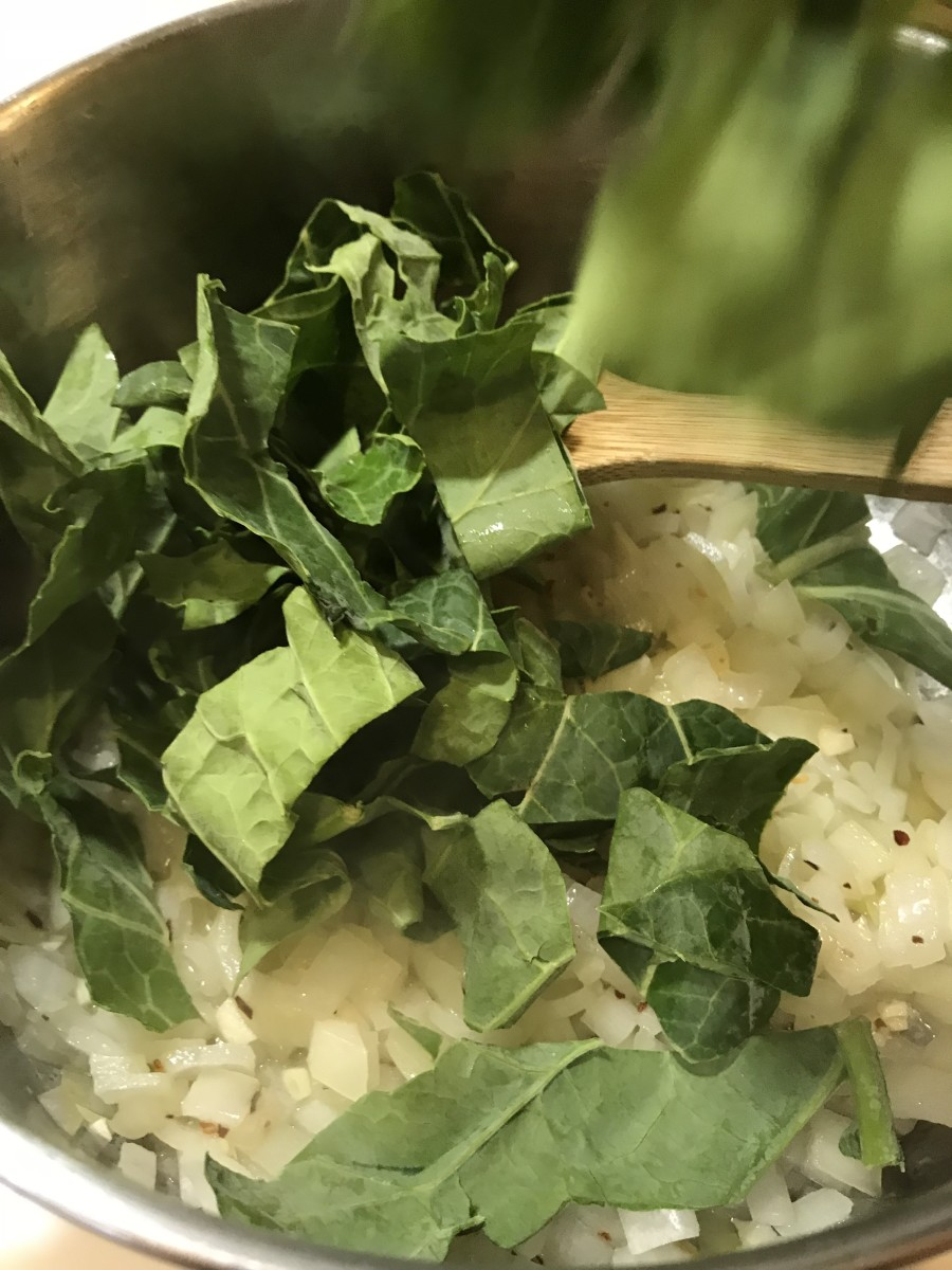 Because leafy greens can start out with such a large volume, you may need to add the greens in stages. Add a pot full, stir, wait a minute, then add more. They break down and wilt very quickly.