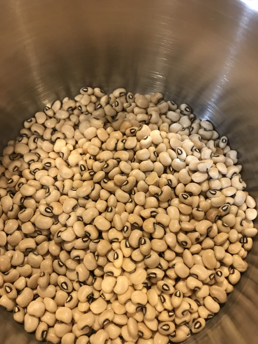 Pick through the dried black eyed peas before cooking. You're looking for little rocks or pebbles. You won't find them often, but it sometimes happens. You'll sure know it if you bite into one - so give it a quick look before cooking.