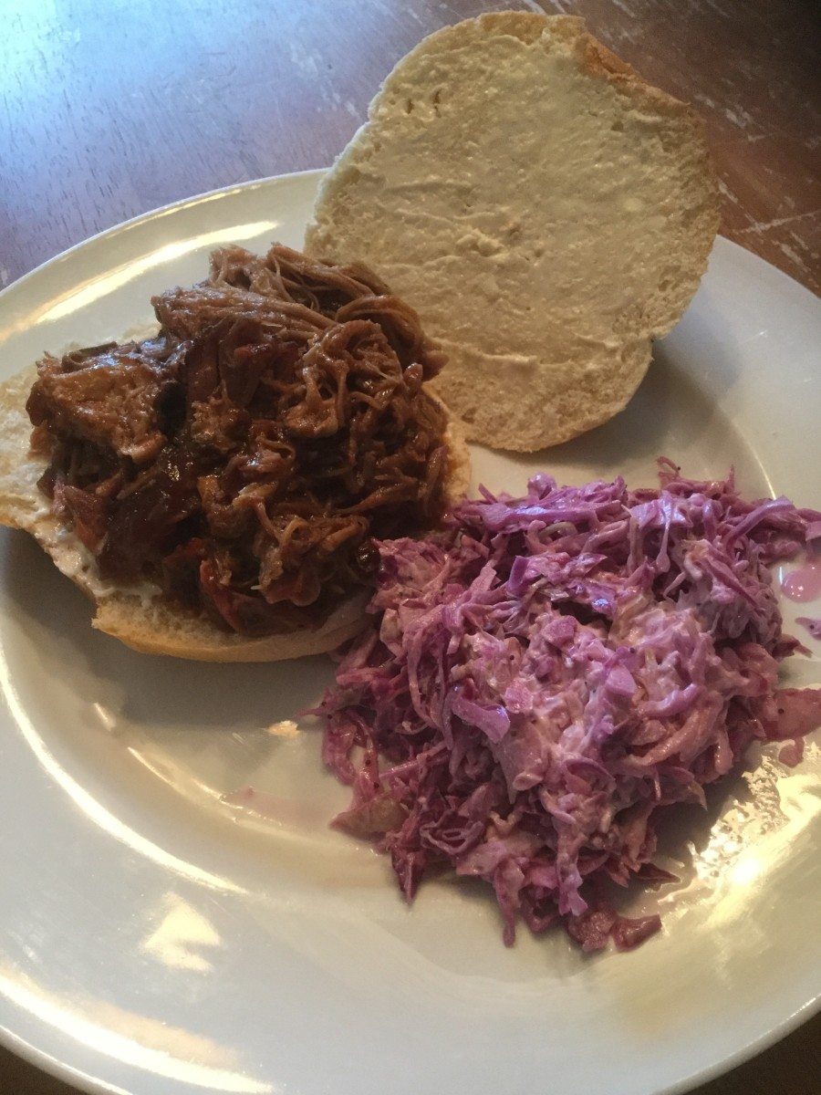 pulled pork sandwich and coleslaw