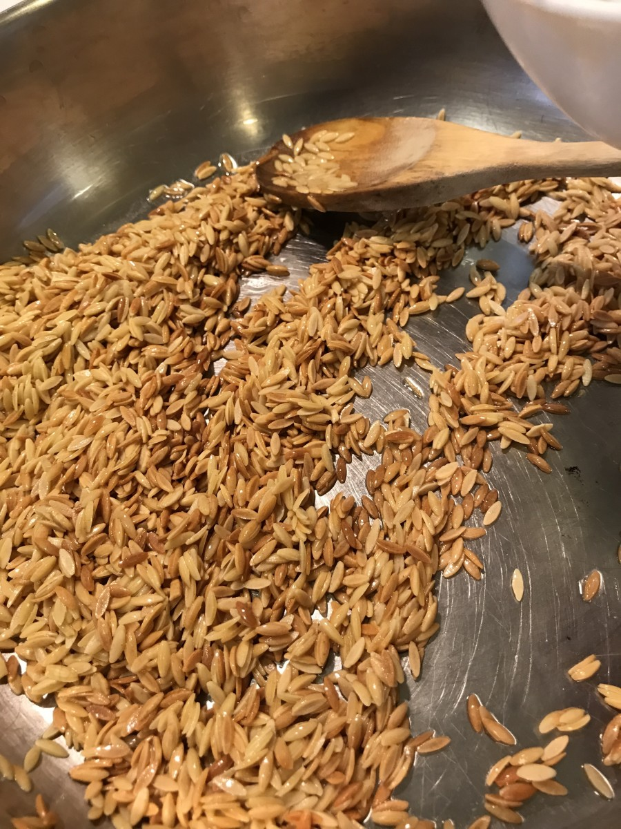 Go as far as you dare with the color on the orzo - this is the key to a deep, nutty flavor. Be careful once it begins to get golden though - too far and you'll get scorched, which isn't nice at all.