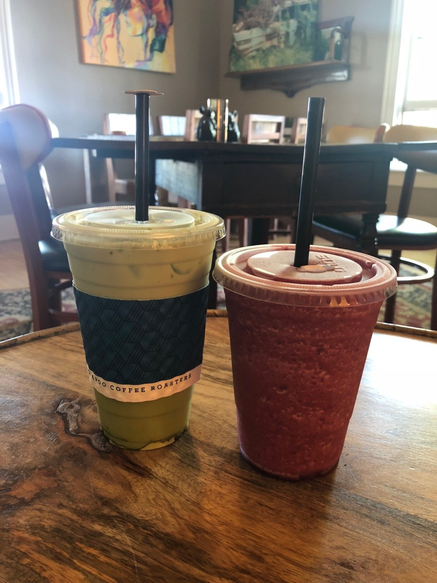 Green tea matcha and blueberry pomegranate smoothie