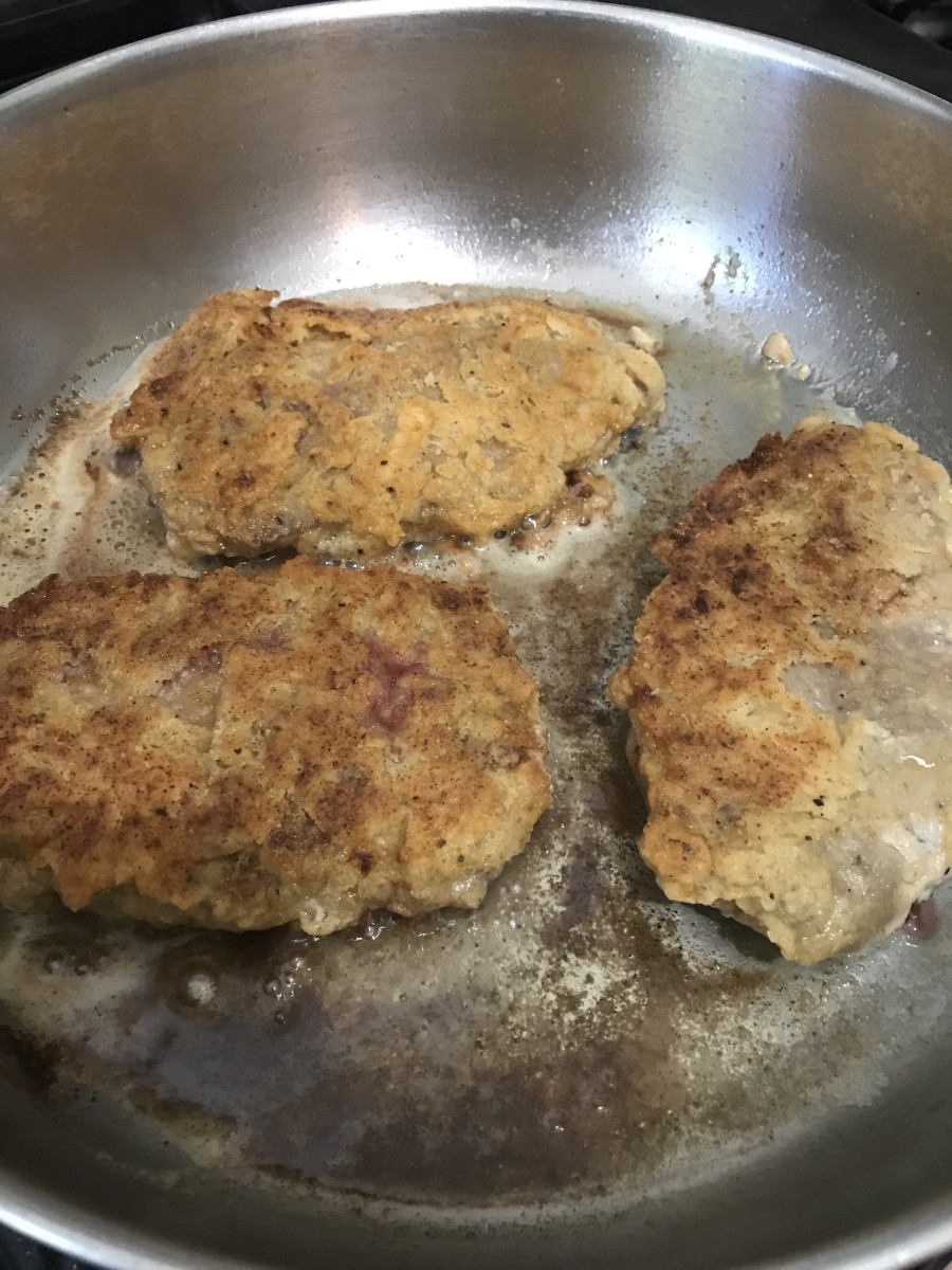 Cook the steaks on each side about five minutes - you're looking for the crust to become beautifully golden brown before turning. The crust will resemble the crust on perfect fried chicken - i.e. chicken fried steak!