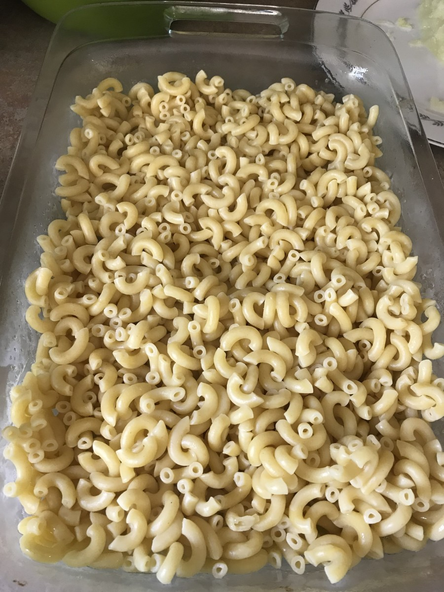 Cook a pound of macaroni according to package directions, usually about ten minutes in salted water at a full boil. You can substitute other pasta if you wish; cavatappi or bow ties work great, too!