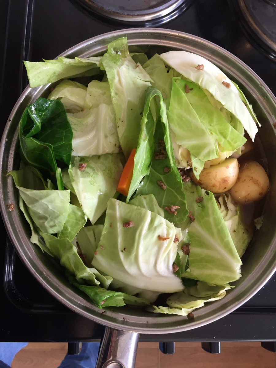 Simmer slowly until cabbage breaks down