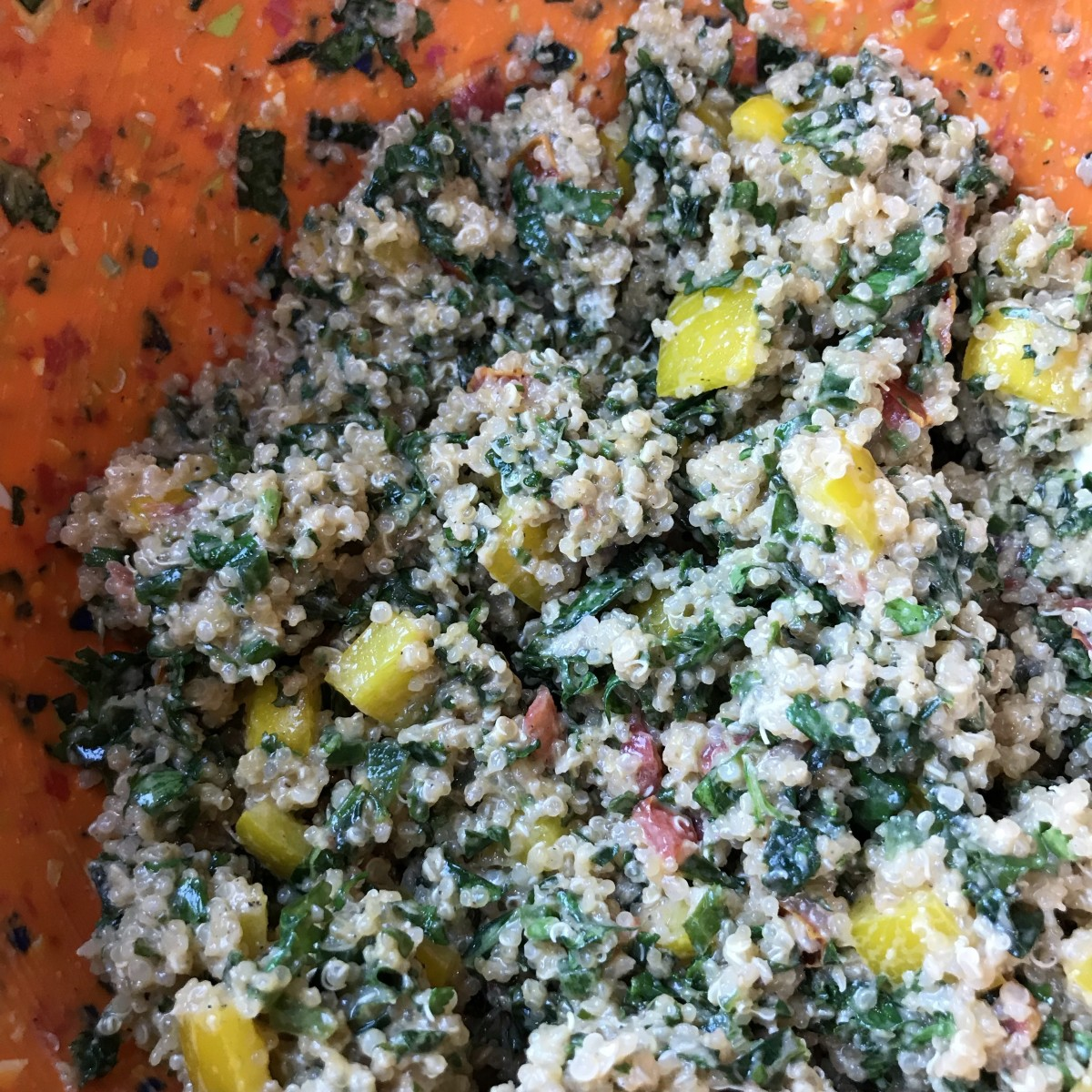 One final toss with the quinoa and this salad is done. This salad is best when chilled for at least 30 minutes and is even better when left overnight!