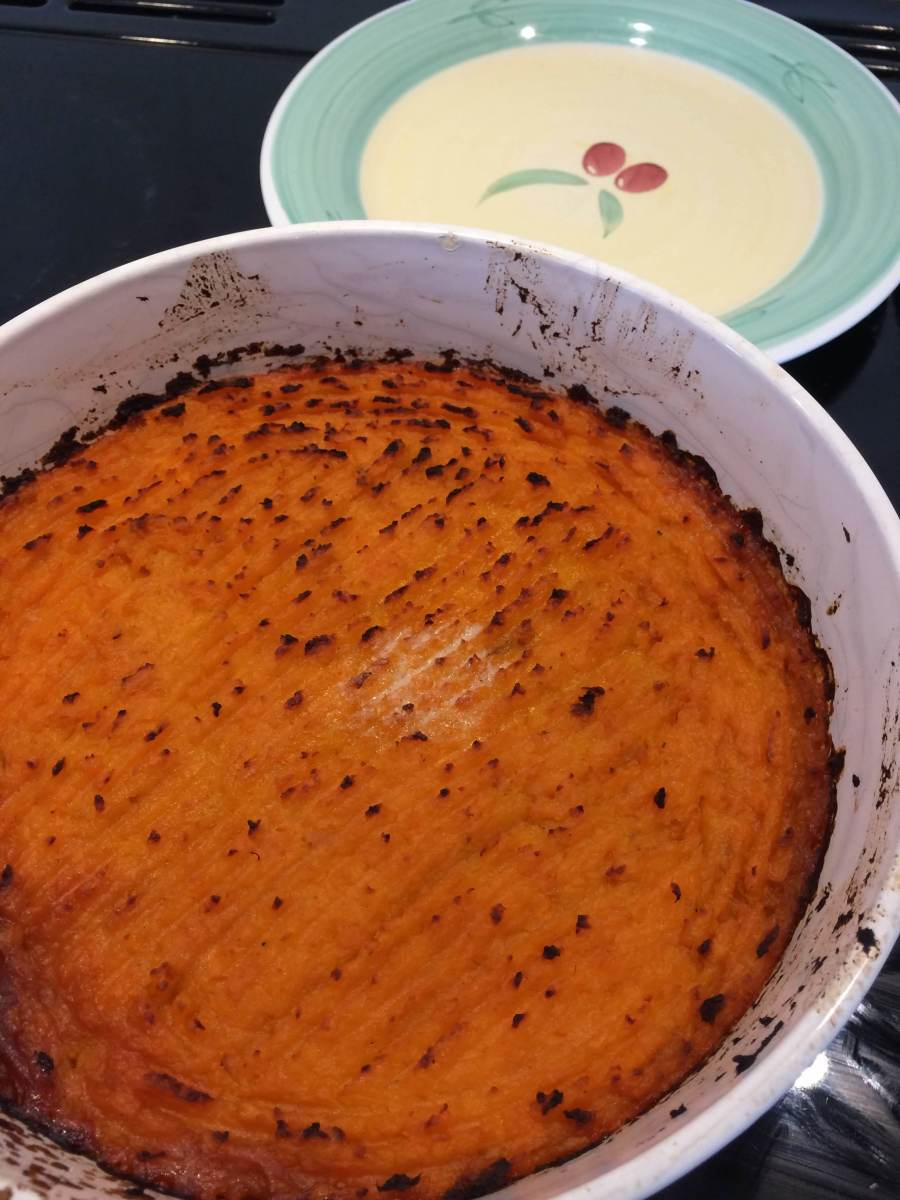 Vegetable Cottage Pie With Green Lentils and Sweet Potato Mash