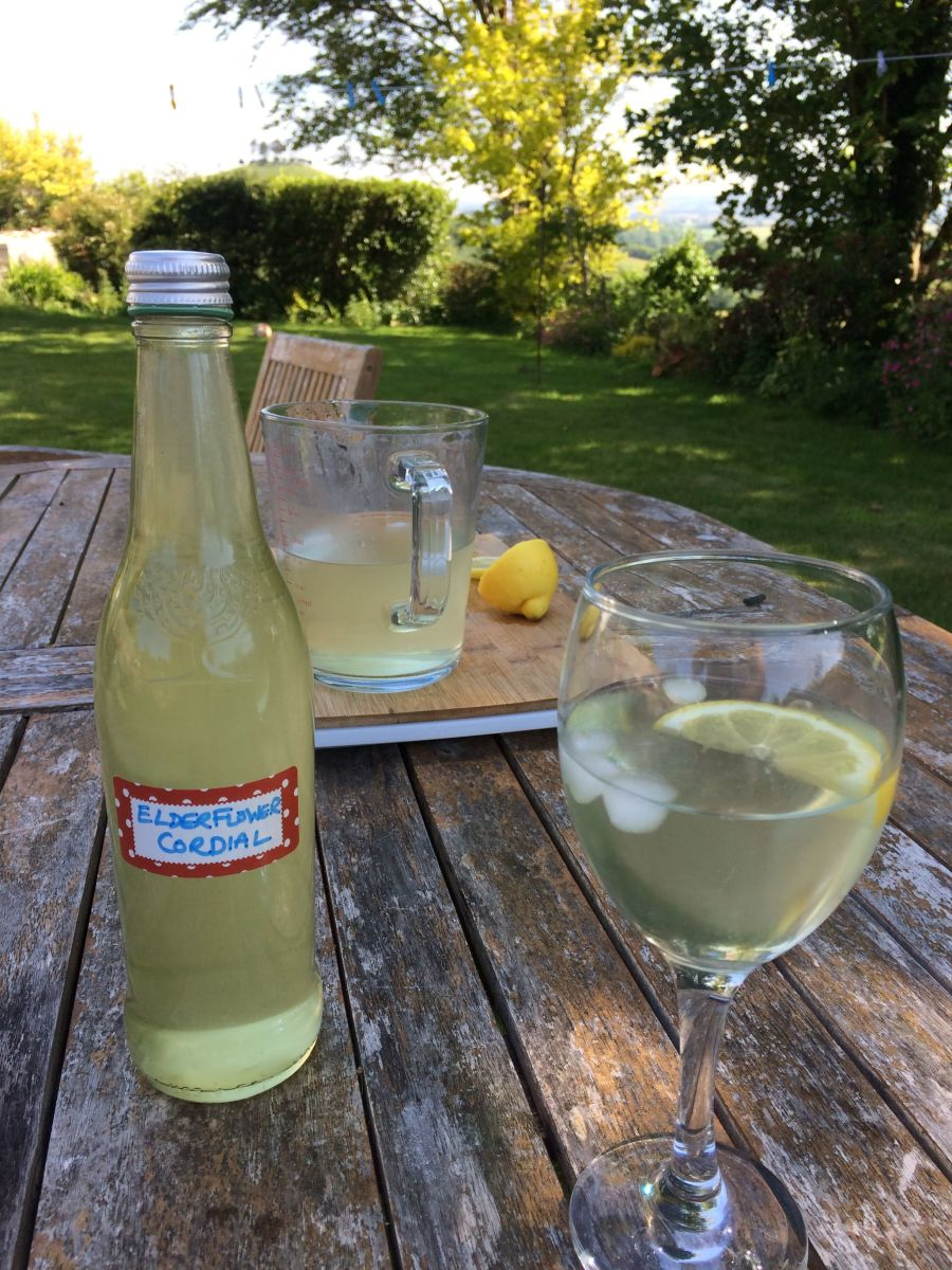 Enjoying a refreshing glass of elderflower cordial in the garden