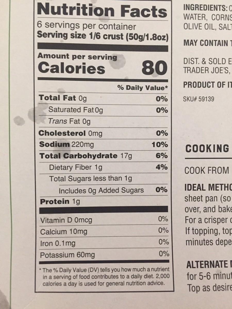 nutritional information for Trader Joe's Cauliflower Pizza Crust