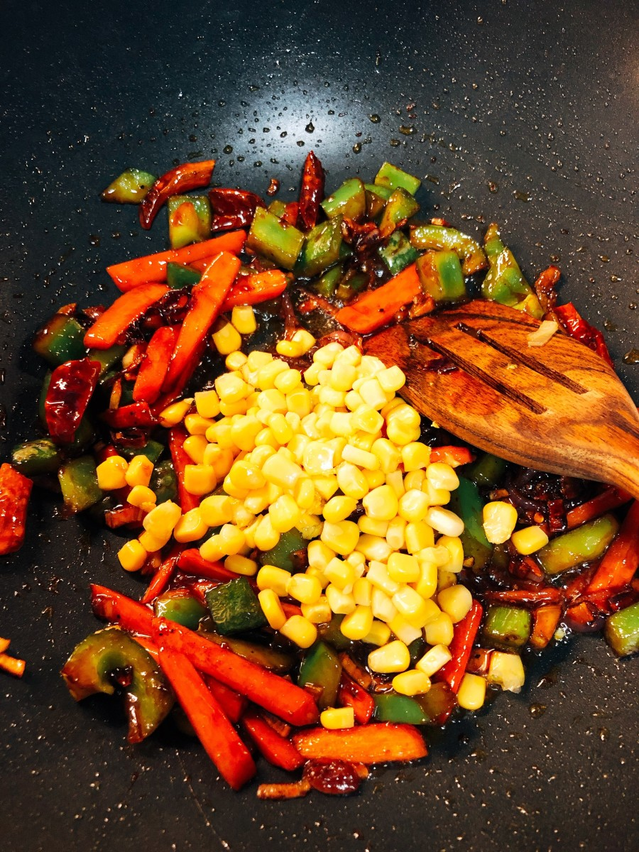Add the sweet corn.
