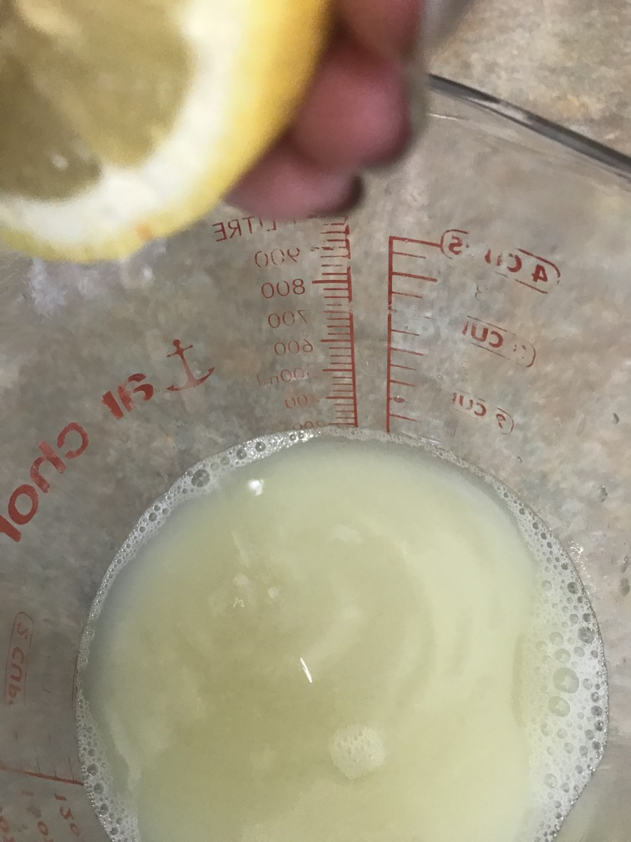 A batch of lemonade takes about 1 1/2 cups of fresh lemon juice. I'd like to tell you it's about 5-6 lemons, but it depends on how big they are and how 'juicy' they end up being - which depends on how fresh they are as well. So just measure!