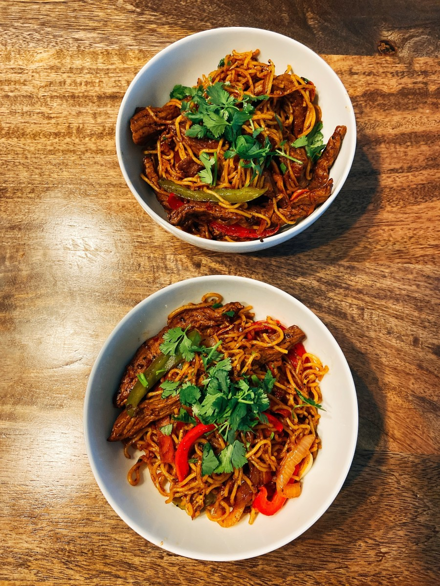 Delicious beef stir-fry with noodles is perfect for a family dinner.