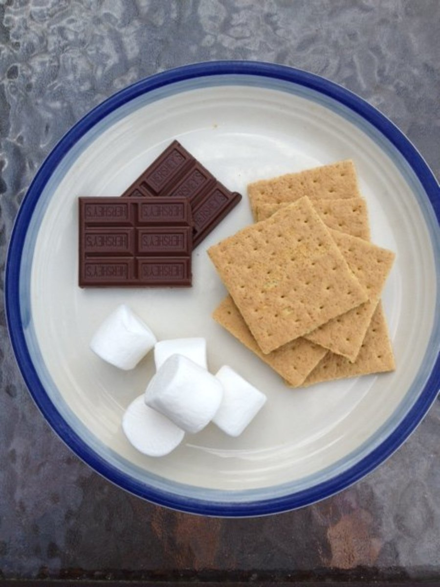 Basic ingredients for making s'mores.
