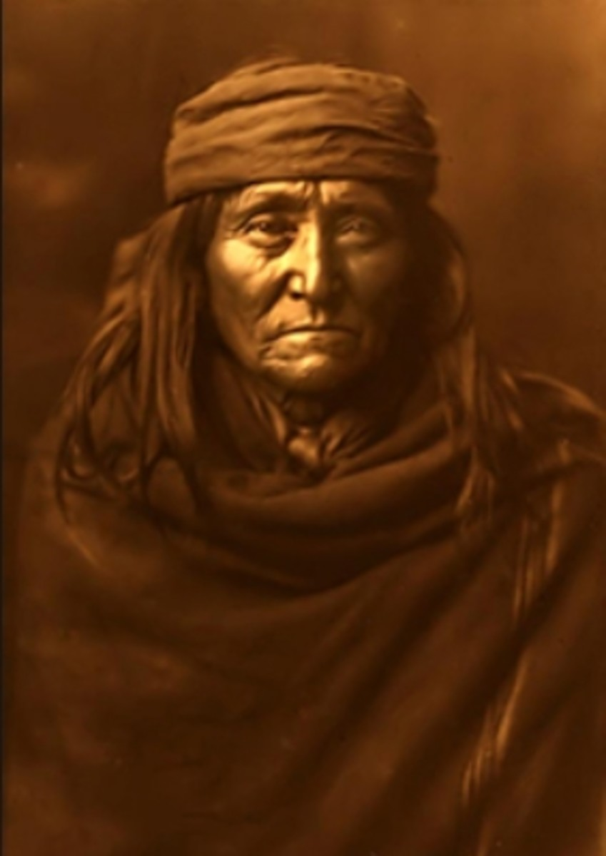 """Apache Brave"", a sample photograph by Edward S. Curtis, though not necessarily in Warhol's collection"