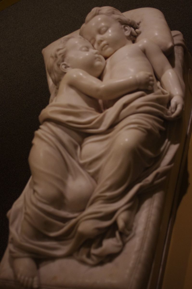 """Sleeping Children"" (modeled 1859, sculpted in 1870) by William Henry Rinehart (American) 1825-1874. Made of marble."