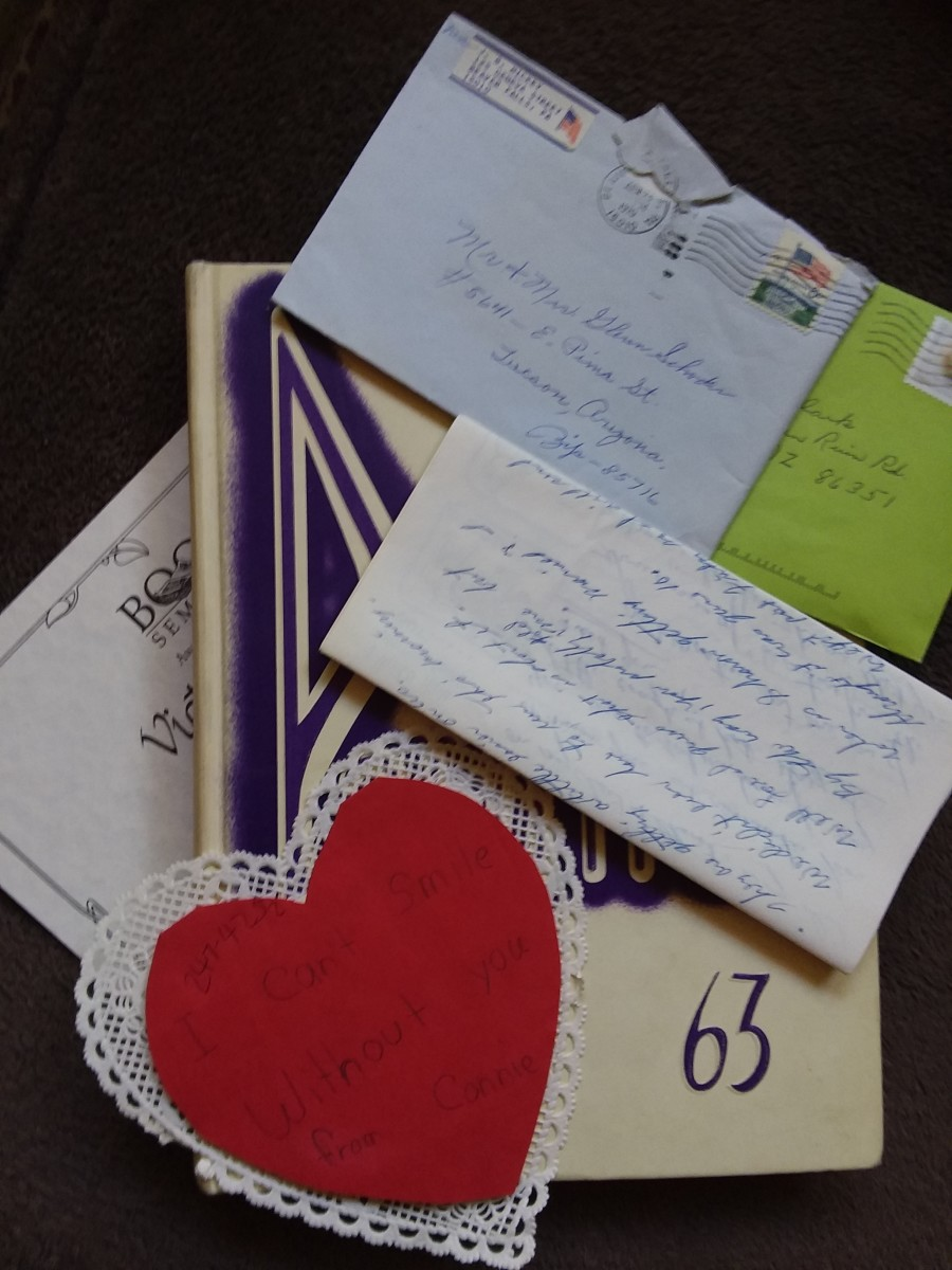 Letters, cards, awards, and yearbooks are great sources of information.