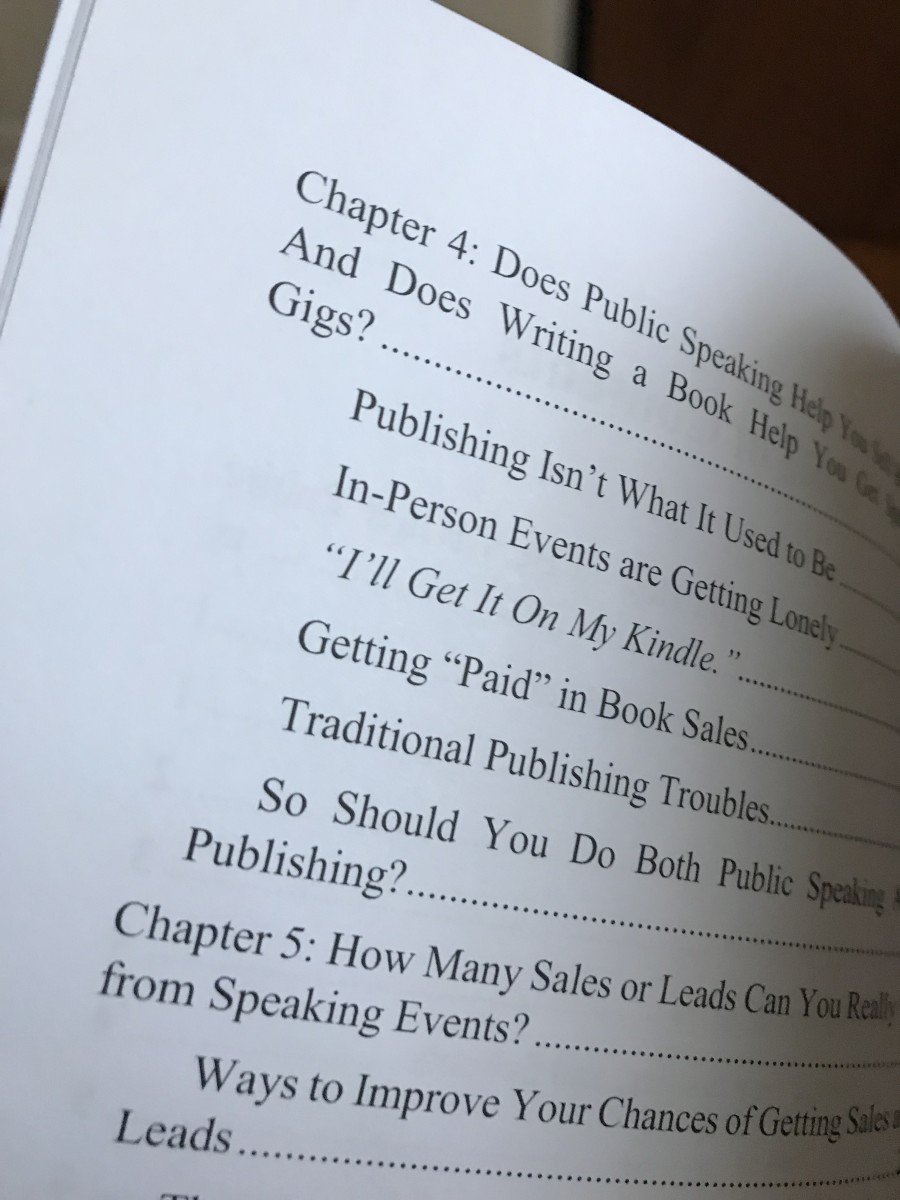 Example of a nonfiction Table of Contents showing a book chapter divided into subheadings.