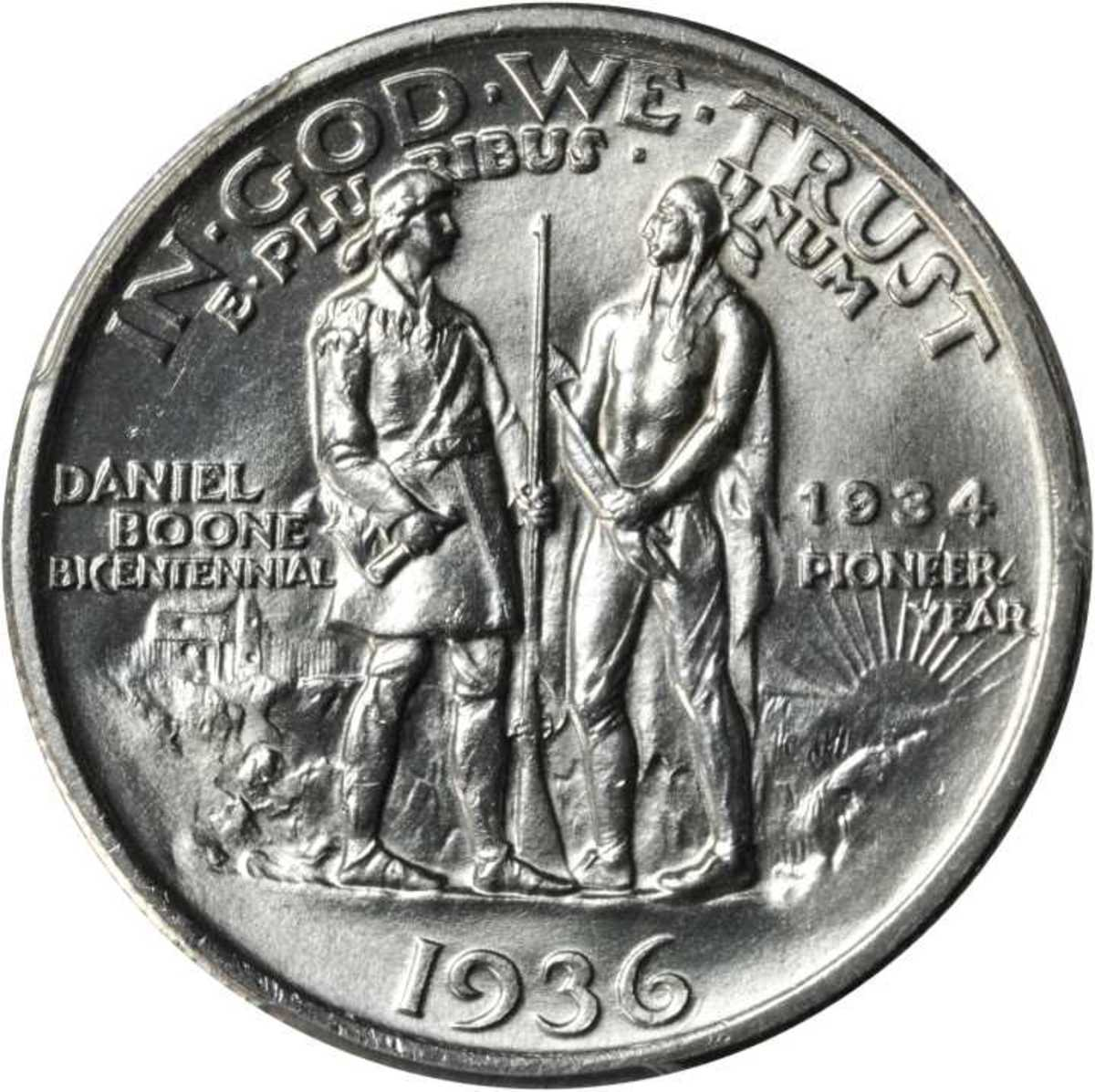 Reverse (back) of the United States 1934 to 1936 Daniel Boone commemorative half dollar. The coin was issued by the U.S. mint to commemorate the 200th year anniversary of Daniel Boone. Boone is on the left with Blackfish, chief of the Chillicothe.