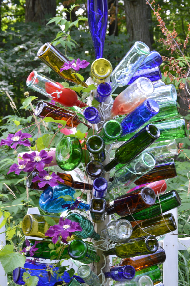 The clematis I planted by my tree has grown up between the bottles and looks beautiful.