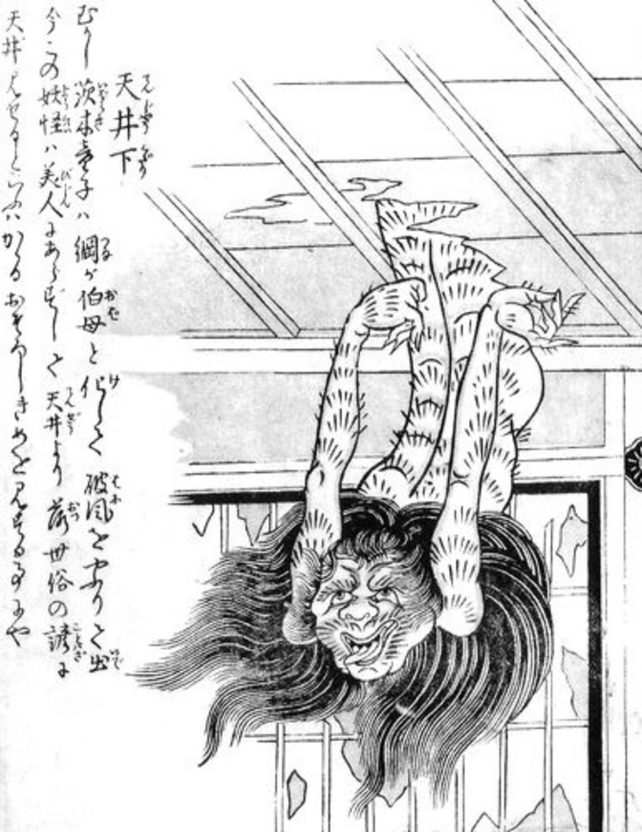 Toriyama Sekien's classic illustration of a hairy Tenjō Kudari.